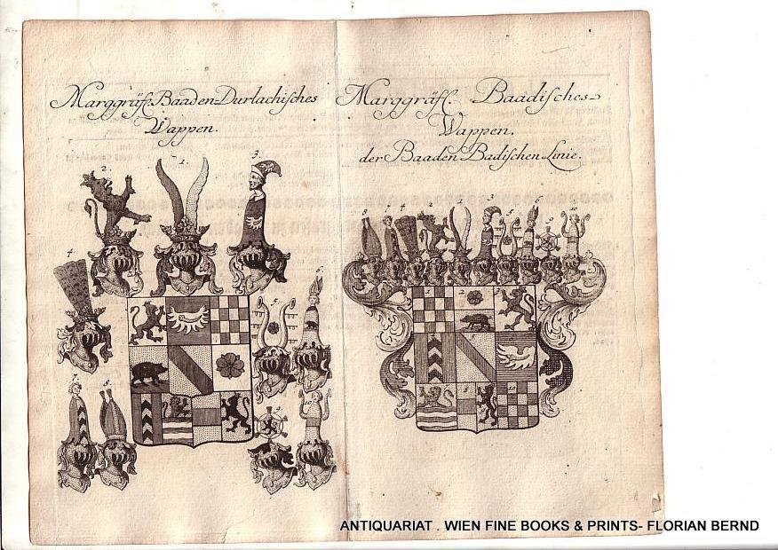 BADEN-DURLACH / BADEN-BADEN- Marggräfl. Baaden-Durlachisches Wappen /