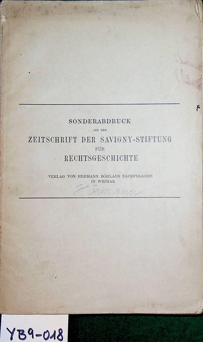 Bußbücherstudien. (=Sonderabdruck aus der Zeitschrift der Savigny-Stiftung: Hörmann, Walther von:
