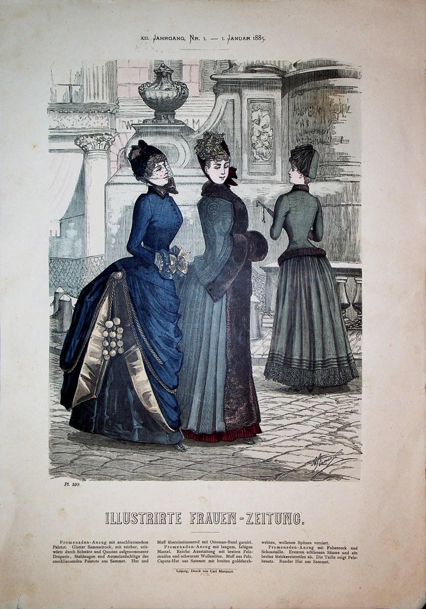 Promenaden-Anzug. Blatt: 599 aus: Illustrirte Frauen-Zeitung: Ausgabe