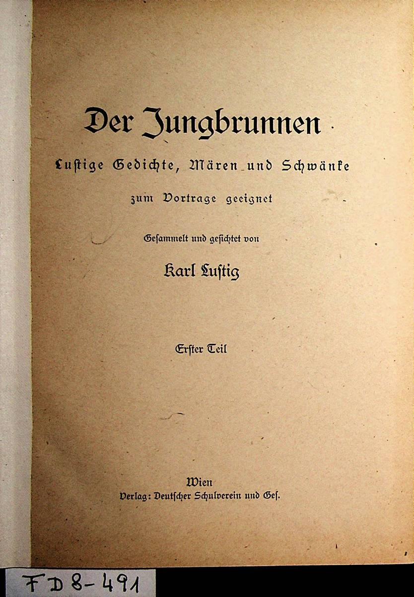 Der Jungbrunnen Lustige Gedichte Mären Und