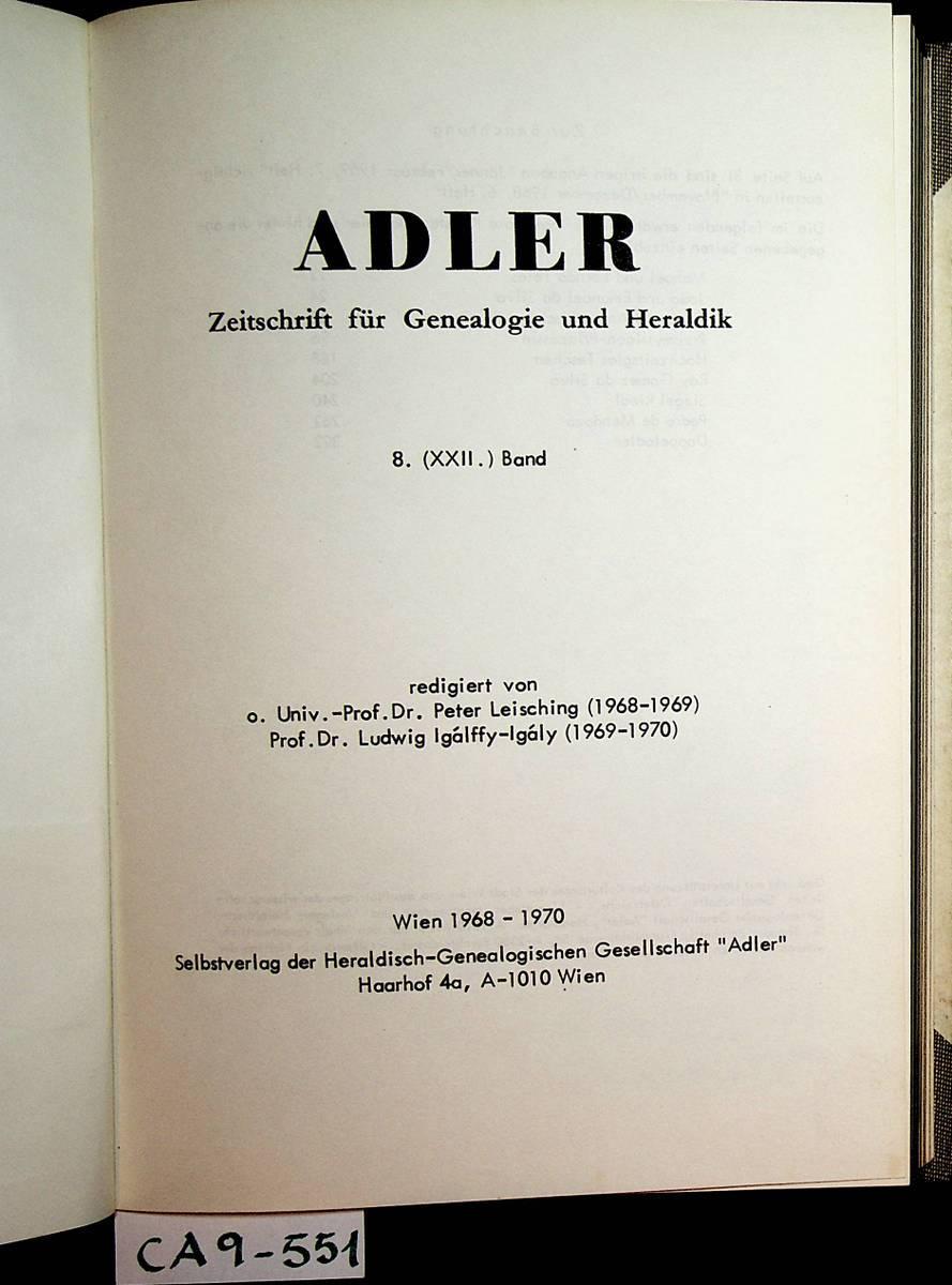 ADLER- Zeitschrift für Genealogie und Heraldik. 8.