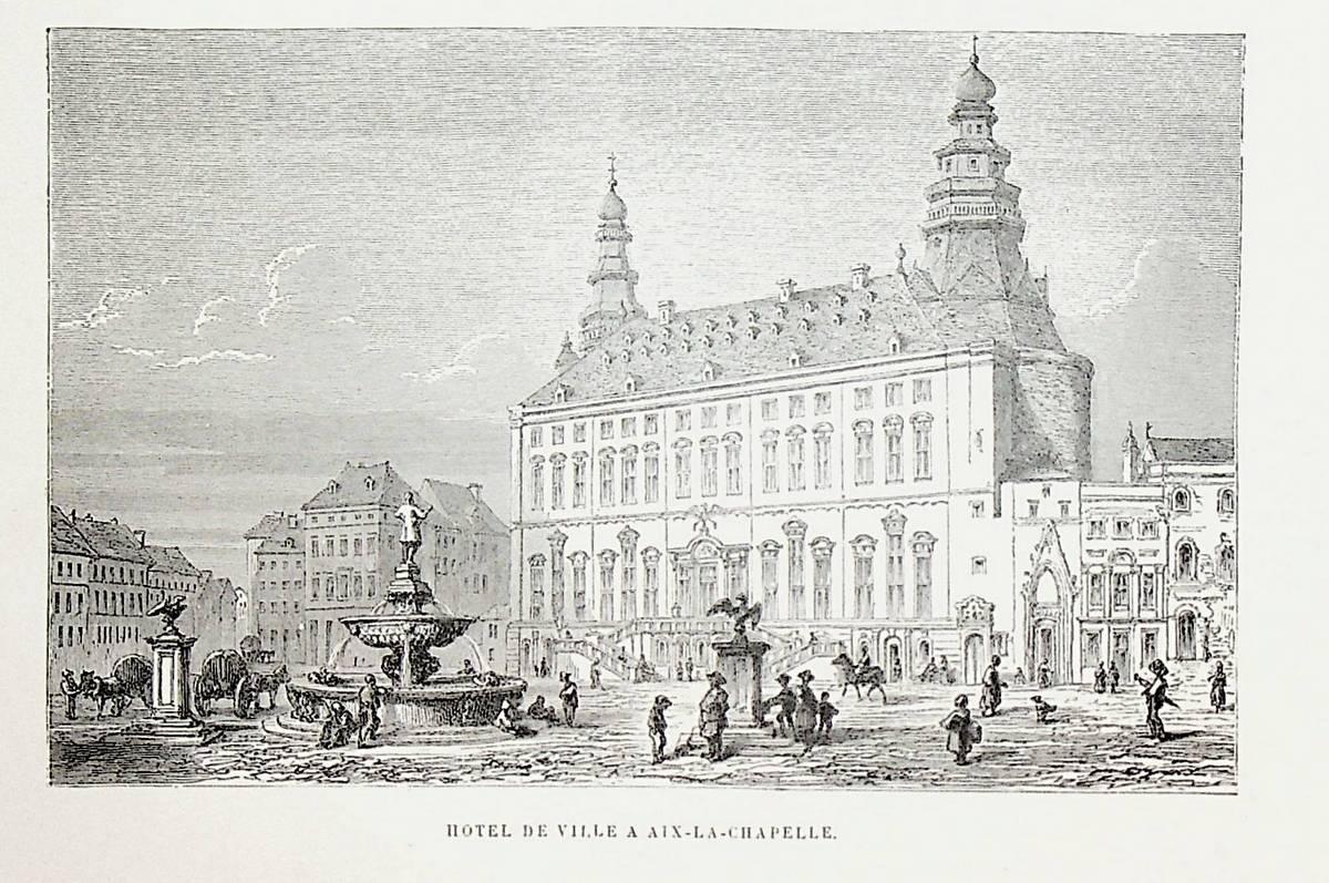 AACHEN, Aachener Rathaus, Nordrhein-Westfalen, Ansicht ca. 1865