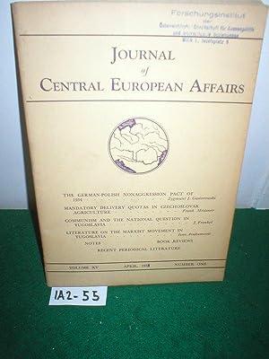 JOURNAL OF CENTRAL EUROPEAN AFFAIRS. Vol.XV, No.