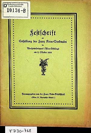 Festschrift zur Enthüllung des Franz Keim-Denkmales im