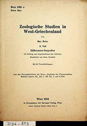 Zoologische Studien in West-Griechenland. 2. Teil. Süßwasser-Isopoden.: Beier, Max: