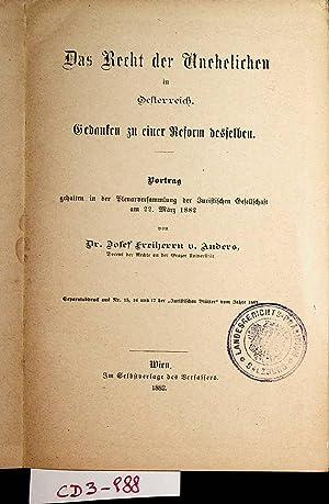 Das Recht der Unehelichen in Oesterreich : Anders, Josef Freiherr