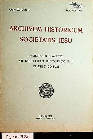 Archivum historicum Societatis Iesu (Jesu) Periodicum Semestre