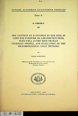 The content of B-vitamins in the milk: Saarivirta, Maija: