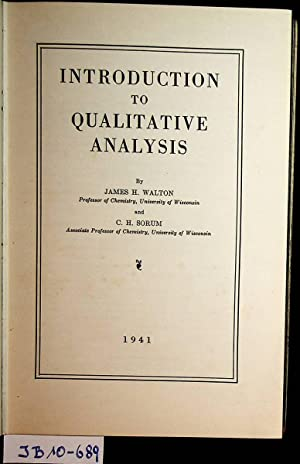 Introduction to Qualitative Analysis.
