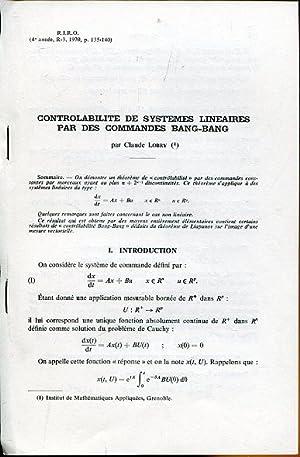 Controlability des Systems Lineaires par des Commades: Lobry, Claude