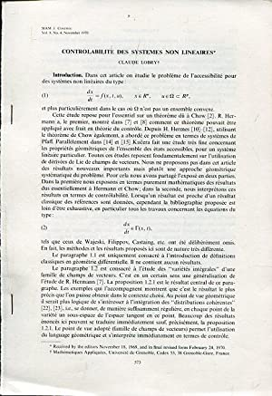 Controlability des Systems non Lineaires.: Lobry, Claude