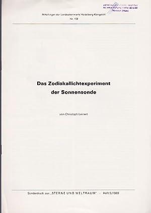 Das Zodiaklalichexperiement der Sonnensonde.: Leinert, Christoph