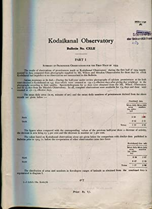 Part 1, Summary of Prominence Observations for the First Half of 1954. / Part II, Magnetic Observ...