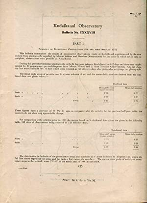 Part 1, Summary of Prominence Observations for the First Half of 1952. / Part II, Summary of Magn...