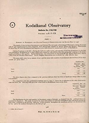 Part 1, Summary of Prominence and Calcium flocculus Observations for the First Half of 1956. / Pa...