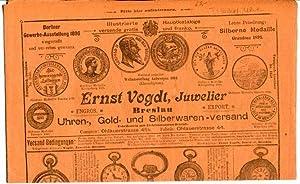 Katalog über Uhren, Gold- und Silberwaren. Versand.: Ernst Vogdt, Juwelier