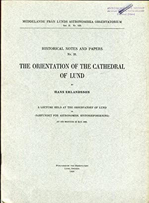 THE ORIENTATION OF THE CATHEDRAL OF LUND.: Erlandsson, Hans