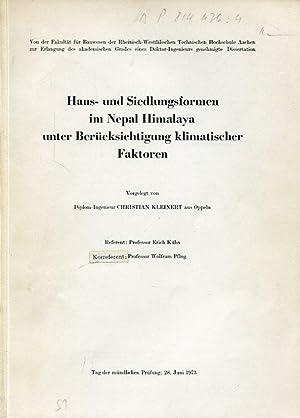 Haus- und Siedlungsformen im Nepal Himalaya unter Berücksichtigung klimatischer Faktoren.: Kleinert...