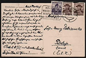 Robert Musil's Holograph Postcard to Countess Mary Dobrzensky in Pot?tejn [Potstejn] (Czechoslova...