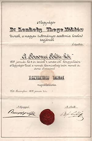 Miklós Konkoly-Thege's Appointing Document as Honorary Member of the in Pozsonyi Toldy-kör (Toldy...
