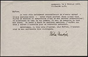 Béla Bartók's Signed Letter to Pierre Jean Jouves