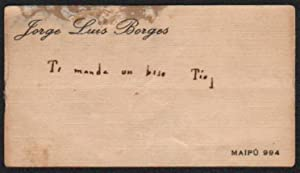 Borges' Visiting Card With Holograph Greeting