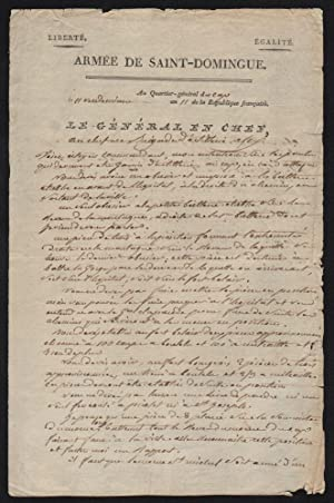 Genereal Leclerc's Handwritten Letter to Artillery Brigade Commander Alex, on October 3, 1802