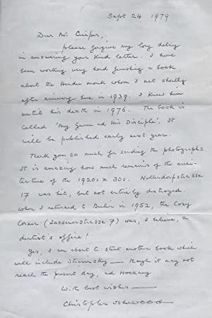 Autograph Letter by Christopher Isherwood