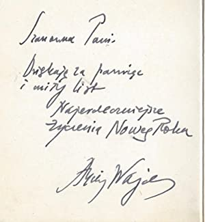 Andrzej and Krystyna Wajda's Handwritten Christmas and New Year Greeting Card