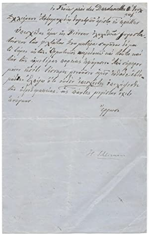Autograph Letter to His Daughter in Greek. Around 1888