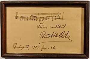 Autograph Musical Quotation of Schumann's Album für die Jugend, Signed and Inscribed by Béla Bartók