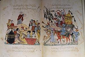Maqamat Al-Hariri Illustrated By Y. Al-Wasiti. 13th Century Arabic manuscript (TWO VOLUMES).: ...