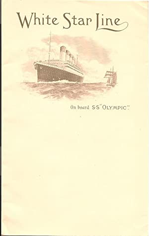 White Star Line, On Board S.S. Olympic: Stationary