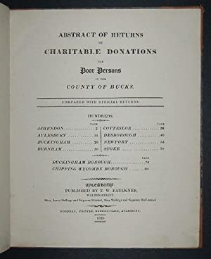 Abstract of Returns of Charitable Donations for Poor Persons in the County of Bucks.: FAULKNER (T. ...