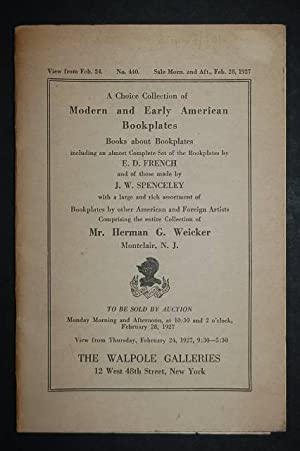 A Choice Collection of Modern and Early American Bookplates, Books about Bookplates, Including an ...