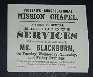 Potteries Congregational Mission Chapel. A a series of special religious services will be conducted...