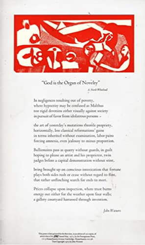 God is the Organ of Novelty (Poem on Broadside): Wieners, John