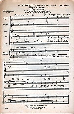 Piagn' e Sospira (Crying and Sighing): Monteverdi, Claudio