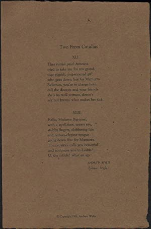 Two From Catullus: Wylie, Andrew