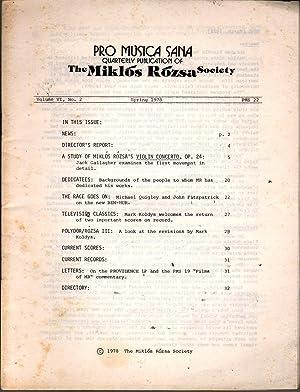 Pro Musica Sana: Quarterly Publication of the Miklos Rozsa Society Vol 6 No 2: Fitzpatrick, John, ...