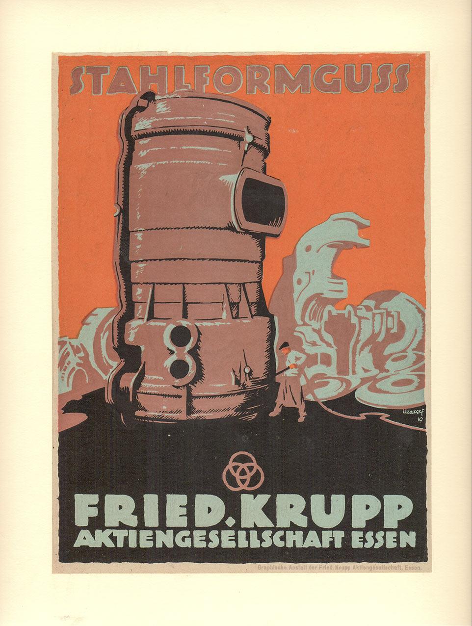 Stahlformguss // Werkzeugstahl (1919). Original-Werbe-Plakat-Entwürfe in Vierfarblithografie. Format: 17,0 x 23,4 cm / 17,0 x 21,4 cm. Auf Karton kas
