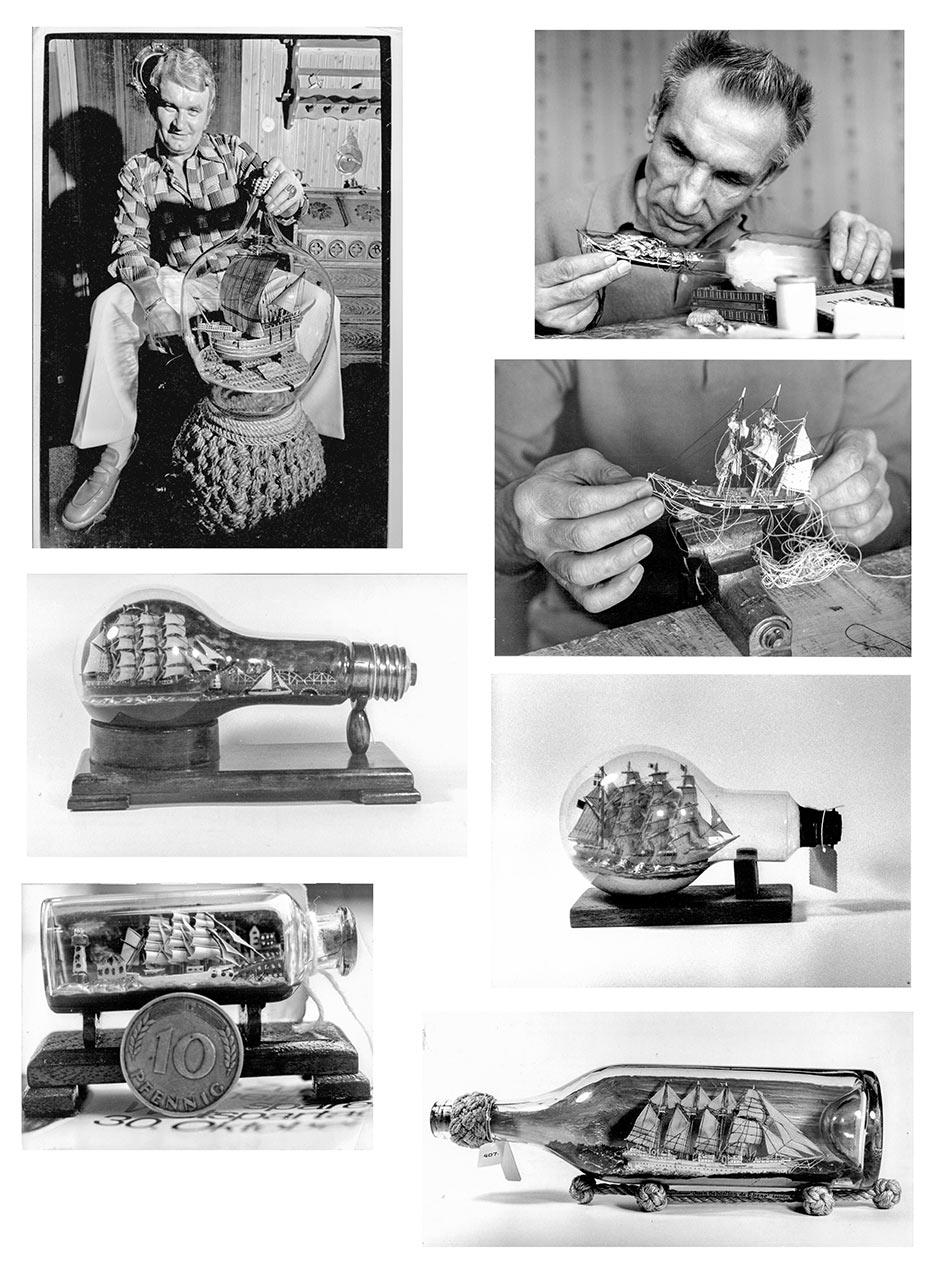 Buddelschiffe und Buddelschiffbauer. Serie von 47 Original Fotografien; vintage prints (1960er bis 1970er Jahre). Bildformate zwischen 18,0 x 21,0 bi