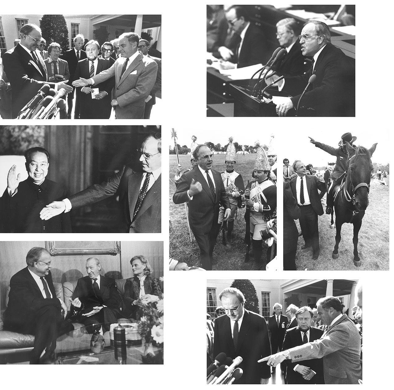Helmut Kohl in den USA: Besuch bei Aussenminister Alexander Haig (2 Fotos) / mit Hannelore Kohl bei Kurt Waldheim im UNO Gebäude / Auf dem Schlachtfe Sprache: Deutsch Gewicht in Gramm: 1600