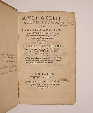 Auli Gellii Noctes Atticae, seu Vigiliae Atticae,: GELLIUS.