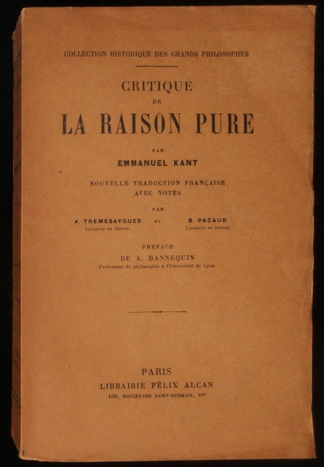 Critique de la raison pure - Alcan