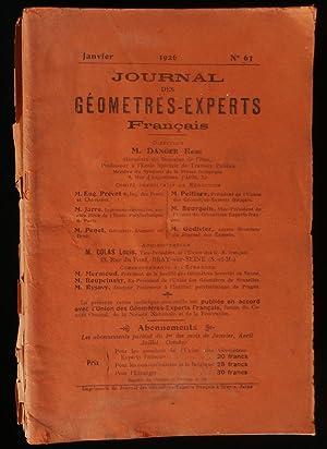 JOURNAL DES GEOMETRES-EXPERTS FRANCAIS 1926 .: DANGER René /