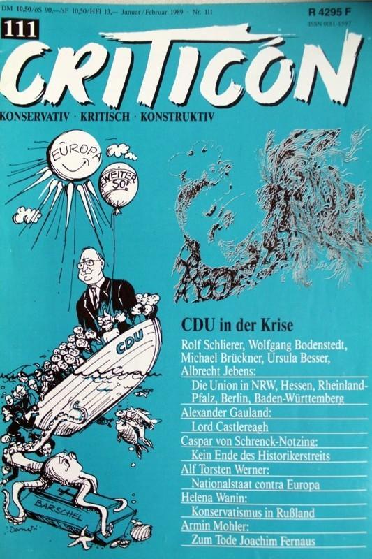 Criticon. Konservativ - Kritisch - Konstruktiv. Zeitschrift: Schrenck-Notzing, Caspar von