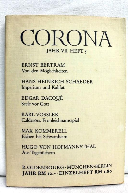 Corona. Zweimonatsschrift. Siebentes Jahr (VII). Fünftes Heft: Bodmer, Martin und