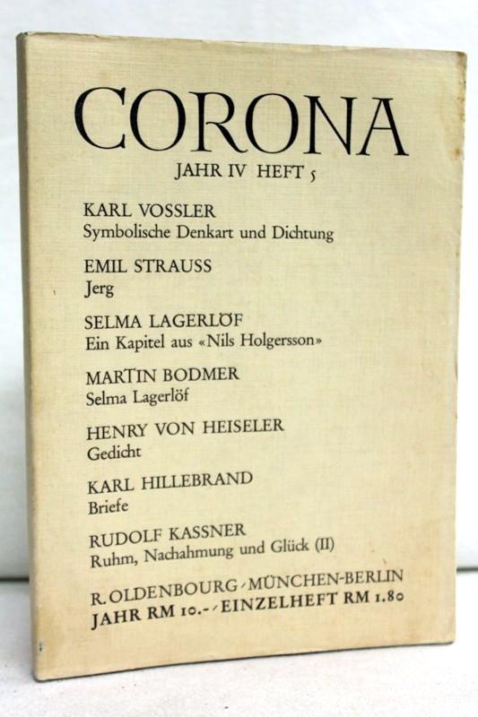 Corona. Zweimonatsschrift. Viertes Jahr (IV). Fünftes Heft: Bodmer, Martin und