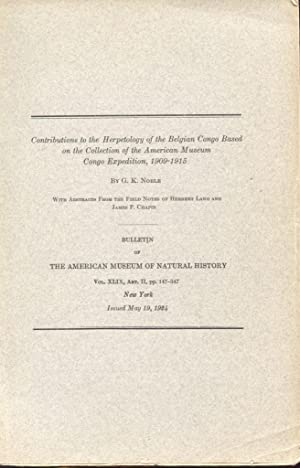 Contributions to the Herpetology of the Belgian Congo Based on the Collection of the American ...